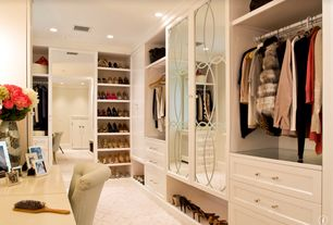 Traditional Closet with Fabrica art deco winter sky, Walk in closet, Carpet, Built-in bookshelf, Crown molding