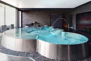 Contemporary Hot Tub with French doors