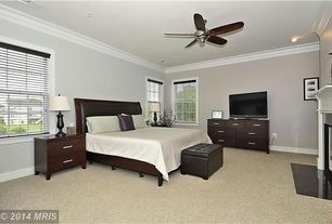 Traditional Master Bedroom with stone fireplace, Ceiling fan, Crown molding, Carpet