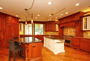 Traditional Kitchen with Kitchen island, Pendant light, Stone Tile, U-shaped, Oak - praline 2 1/4 in. solid hardwood strip