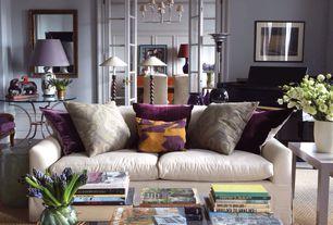 Traditional Living Room with Concrete floors, French doors, Pem america leandre velvet pillow, Wainscotting