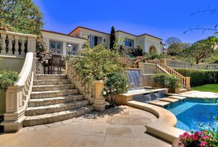 Mediterranean Swimming Pool with Fence, Cast stone balustrade, exterior stone floors, Pool with hot tub, Pathway, Casement