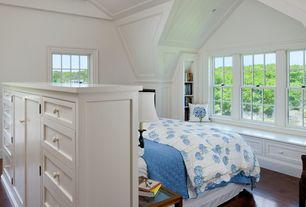 Traditional Guest Bedroom with Maple flooring, French doors, Wood panel ceiling, Bedding, Hardwood floors, Built-in bookshelf