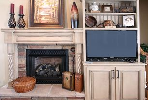 Country Living Room with Vintage Vases Hosley Pottery Drip Glaze Pair S561, stone fireplace, Built-in bookshelf