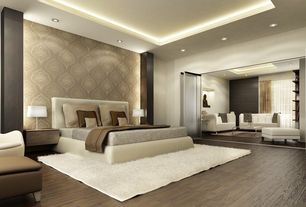 Contemporary Master Bedroom with Crown molding, Open concept, Shag area rug, folding door, Columns, Accent wallpaper, Paint