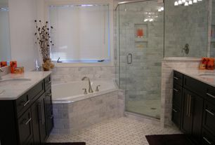 Traditional Master Bathroom with Complex marble counters, Master bathroom, Flat panel cabinets, Undermount sink
