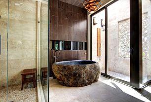 Eclectic Full Bathroom with Strata stones lombok pebble tile, Rain shower, Bathtub, Handheld showerhead, Wall Tiles, Shower