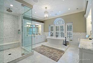 "Contemporary Master Bathroom with Raised panel, Kesir Polished Turkish Carrara White Marble Tile 12"" x 24"" x 3/8"", Flush"