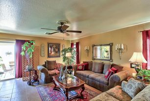 Traditional Living Room with Ceiling fan, travertine tile floors