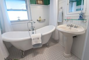 Cottage Full Bathroom with Daltile Octagon & Dot White Matte Dot Mosaic Tile, Clawfoot, Pedestal sink, penny tile floors
