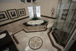 Traditional Master Bathroom with Standard height, Master bathroom, Undermount sink, frameless showerdoor, Chandelier, Paint