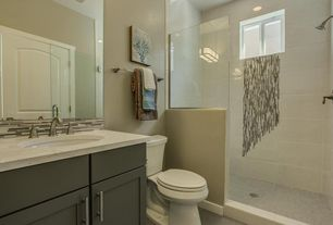 Modern 3/4 Bathroom with Flush, Undermount sink, Ceramic Tile, Daltile Granite Radiance Ubatuba Blend, European Cabinets