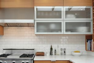 Contemporary Kitchen with Subway Tile, Glass panel, Corian counters, L-shaped, Flush, Sugatsune snd-95/m pull, Exposed beam