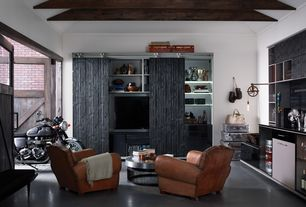 Contemporary Man Cave with Exposed beam, Built-in bookshelf, Crown molding, High ceiling, Concrete floors, Barn door