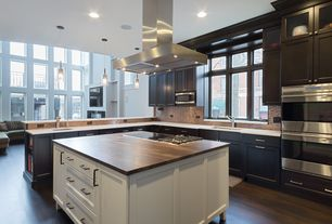 Contemporary Kitchen with Ceramic Tile, Wood counters, Corian counters, L-shaped, Kitchen island, Undermount sink, Flush