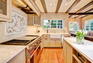Traditional Kitchen with Farmhouse sink, European Cabinets, dishwasher, Flat panel cabinets, L-shaped, Exposed beam, Paint 1