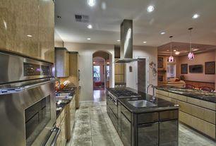 Contemporary Kitchen with Pendant light, Undermount sink, flush light, Soapstone counters, Breakfast bar, European Cabinets
