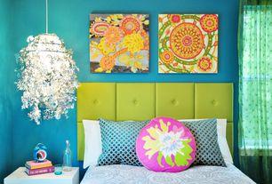 Eclectic Kids Bedroom with Standard height, Chandelier, double-hung window, Paint, Paint 2, no bedroom feature