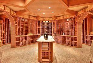 Craftsman Wine Cellar with Built-in bookshelf, Carpet, Exposed beam