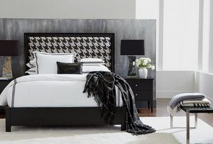Contemporary Guest Bedroom with Laminate floors, Ethan allen woven leather bench, Upholstered bed headboard, Bench