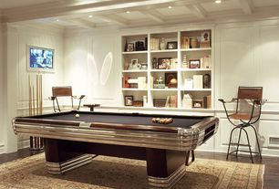 Contemporary Game Room with Chair rail, Exposed beam, Built-in bookshelf, Crown molding, Hardwood floors