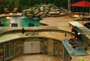 Rustic Patio with Outdoor kitchen, Fire pit, Other Pool Type, exterior stone floors