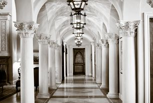 Traditional Hallway with Paint, Barn door, Columns, High ceiling, BARCELONA IRON PENDANT, Chandelier, complex marble floors