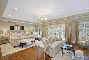 Traditional Master Bedroom with Restoration Hardware - Marseilles Chair, Trey ceiling, Hardwood floors, Tray coffee table