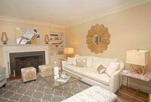 "Contemporary Living Room with Built-in bookshelf, CarpenterCraig - Sunburst mirror 29"" x 1-1/4"", interior wallpaper"