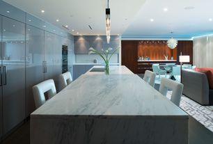 Modern Kitchen with Poul Henningsen For Louis Poulsen Lighting Steel Artichoke Lamp, Ms international arabescato carrara