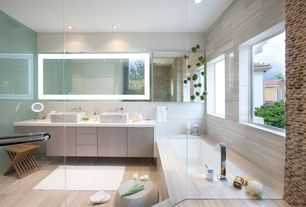 Contemporary Master Bathroom with Vessel sink, Double sink, CJs Hearth & Home River Bed Pebble Stone, Rain shower, Flush