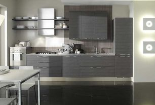 Contemporary Kitchen with One-wall, Large Ceramic Tile, Wall sconce, Wall Hood, Undermount sink, Corian counters, wall oven