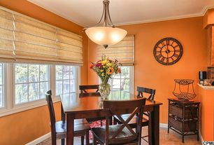 Traditional Dining Room with flush light, The Shade Store Pleated Roman Shade, Crown molding, Pottery Barn Aaron Side Chair