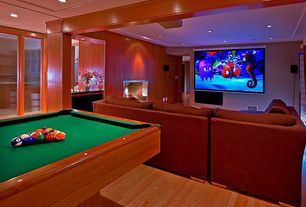 Contemporary Game Room with Elite screens lunette series home projector screen, Spencer marston catania pool table
