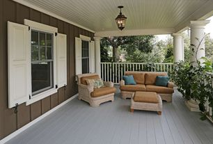 Traditional Porch with White exterior columns, Exterior shutters, Wood panel ceiling, Painted floors
