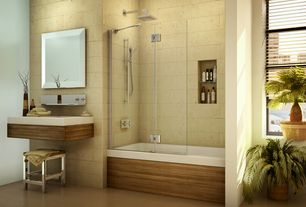 Contemporary Full Bathroom with tiled wall showerbath, limestone floors, Handheld showerhead, Rain shower, Wall mounted sink