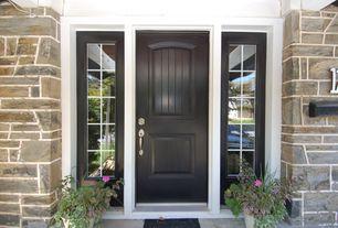 Traditional Front Door with Premium White 2-Panel Plank Primed Steel Front Door Slab, exterior tile floors