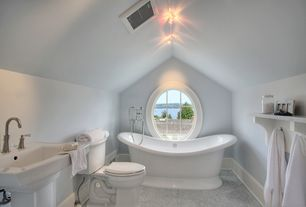 Traditional Full Bathroom with Pedestal sink, flush light, Signature bath boat freestanding tub, High ceiling, Freestanding