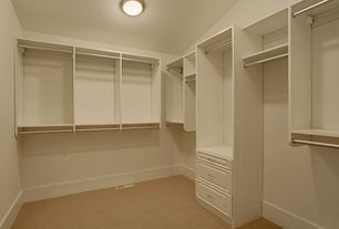 Traditional Closet with California Closets Walk-In Closet Custom Cabinetry, Closet system white, Carpet, flush light