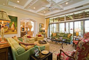 Country Living Room with Box ceiling, Transom window, Ceiling fan, Carpet, Crown molding