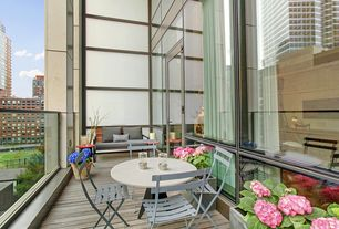 Contemporary Deck with French doors, picture window, Deck Railing