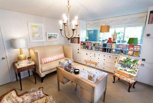 Eclectic Home Office with Carpet, interior wallpaper, Built-in bookshelf, Chandelier