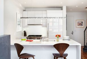 Contemporary Kitchen with Simple marble counters, Flush, Breakfast bar, Simple Marble, European Cabinets, U-shaped