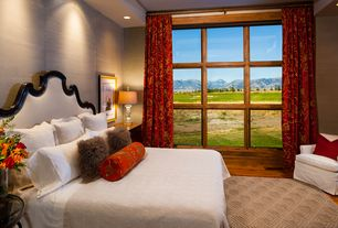 Traditional Master Bedroom with picture window, interior wallpaper, High ceiling, can lights, Hardwood floors