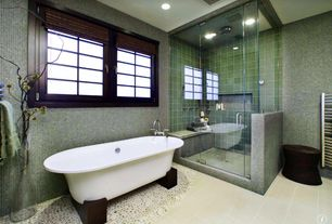 Asian Master Bathroom with Optico mosaic tile - olympic series silver, Pebble tile shop bali cloud pebble tile, Freestanding
