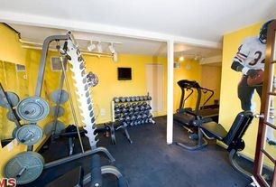 Modern Home Gym with Exposed beam, Carpet, Body-Solid Endurance T10 Commercial Treadmill with HRC, tv wall mount
