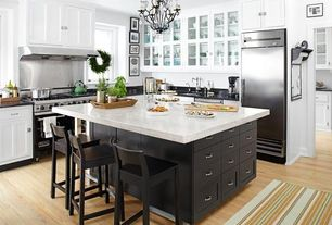 Traditional Kitchen with European Cabinets, Kitchen island, Soapstone counters, L-shaped, Carrara marble countertop, Flush