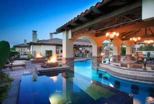 Mediterranean Swimming Pool with Outdoor kitchen, Other Pool Type, In pool seating, Deck Railing, exterior brick floors
