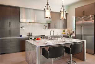 Contemporary Kitchen with Complex marble counters, Pendant light, Farmhouse sink, Specialty Tile, Kitchen island, L-shaped