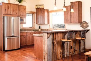 Rustic Kitchen with Pendant light, Complex granite counters, Flush, Freestanding Full Size Top Freezer Refrigerator, Casement